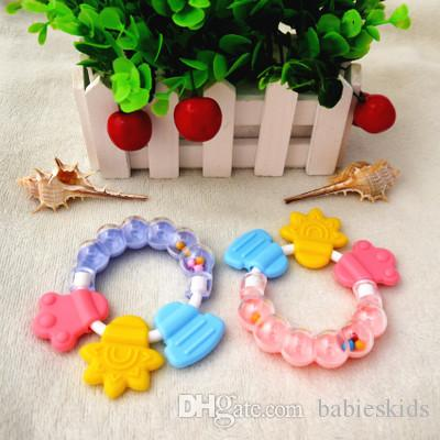 Newly Infant Baby Teether Toy Safety Soft Rattle Best Gift Teether Baby CareTeeth Food Grade Sticks Appease Silicone For Baby Care