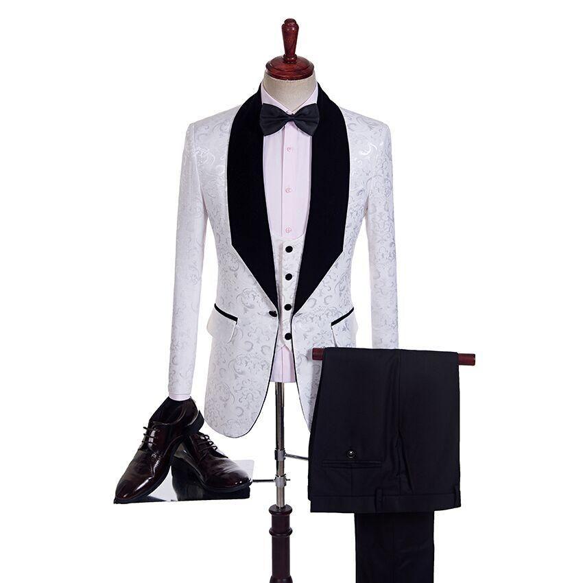 Acheter À La Mode Un Bouton Garçons D honneur Jacquard Châle Revers Marié  Smoké Costumes Hommes Mariage   Bal   Dîner Meilleur Blazer D homme De   74.75 Du ... 70f4989f5a6