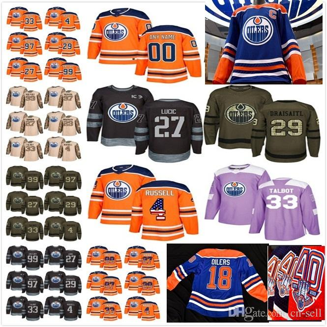 25b8c1fe5 2019 Edmonton Oilers Custom Any Name   No. Connor McDavid Hockey Jerseys  Salute USA Flag Fights Cancer Practice Heritage Uniform100th 40th UK 2019  From Cn ...
