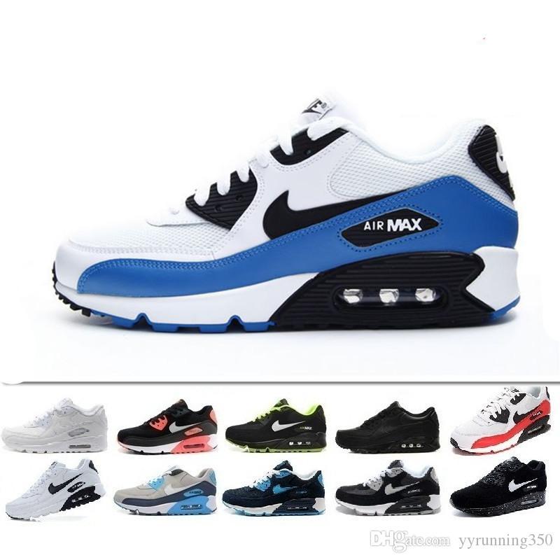 best loved 2f6cd e85e0 Acquista Nike Air Max 90 Airmax Nuovi Uomini Scarpe Da Donna Classiche 90  Scarpe Casual Da Uomo E Da Donna Nero Rosso Sport Bianche Da Allenamento  Cuscino ...