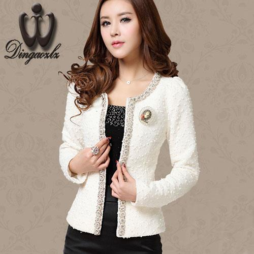 432d405e5 Dingaozlz Autumn-Winter coat short design Women Outerwear Elegant Beaded  Diamond slim Long sleeve Plus size Small jacket M-XXXL