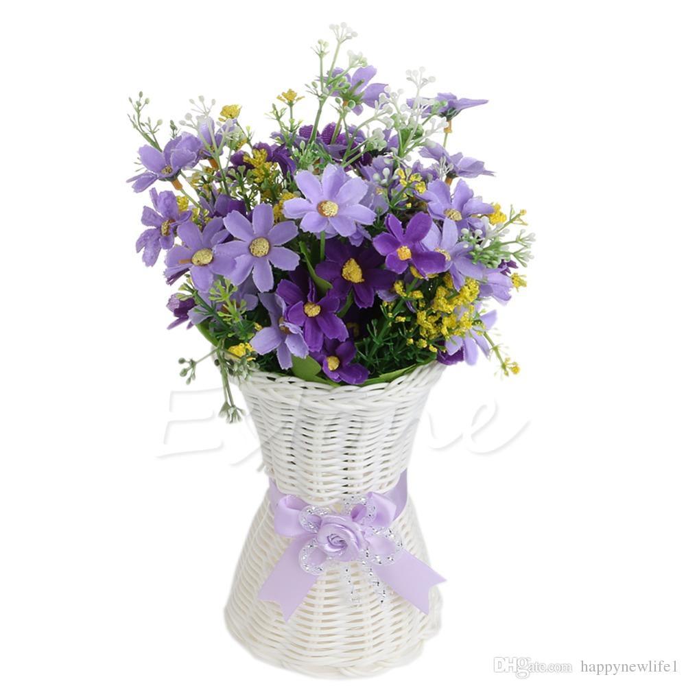 1 Unid Florero de Ratán Artificial Flor Fruta Cesta de Almacenamiento de Dulces Decoración de la Fiesta de Jardín