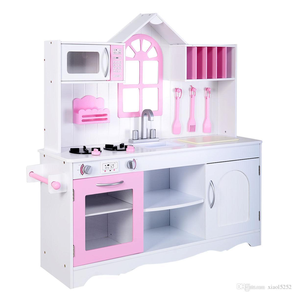Großhandel Goplus Kinder Holz Küche Spielzeug Kochen Pretend Play ...