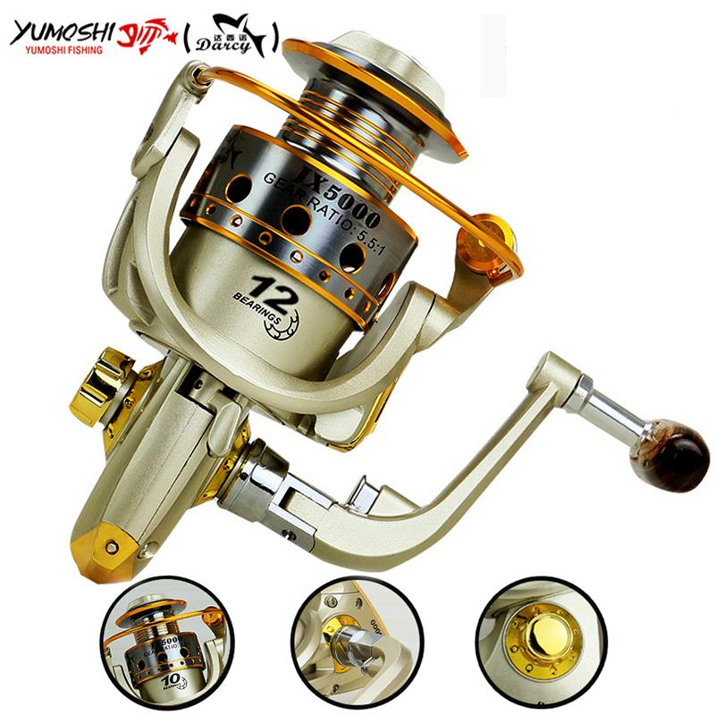 spinning Hot wheels fish spinning reel 5.5:1 12Ball Bearing carretilhas de pescaria molinete fishing reel accessories 1000-7000series