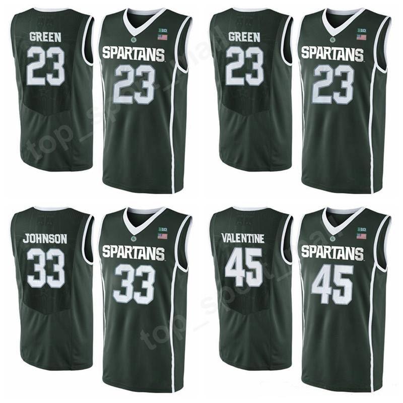 78768c7df 2019 College 23 Draymond Green Jersey 33 Magic Johnson Basketball Michigan  State Spartans 45 Denzel Valentine 20 Matt McQuaid 34 Gavin Schilling From  ...