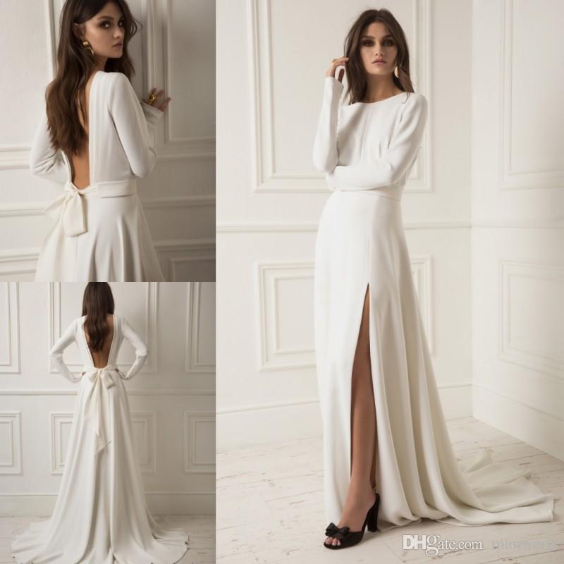 Discount Lihi Hod 2019 Split Satin Wedding Dresses Long Sleeves