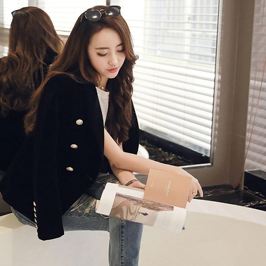 레드 블랙 벨벳 재킷 여성 빈티지 버튼 작업 재킷 여성 활주로 한국어 슬림핏 재킷 정장 여성 코트 X50073