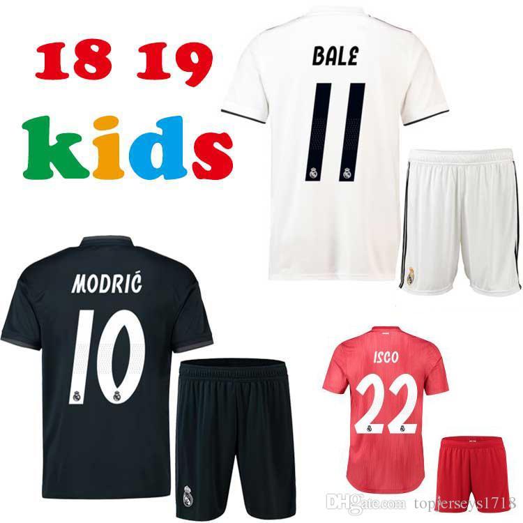 3d2ac370195 18 19 Real Madrid Kids Soccer Jersey Asensio SERGIO RAMOS MODRIC ...