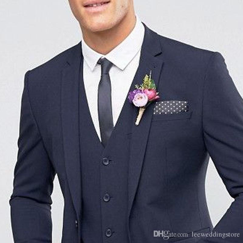 Handsome Custom Made Navy Blue Wedding Suits Best Man Blazer Tuxedos Groom Business Men Suits Terno Masculino Jacket+Pants+Vest