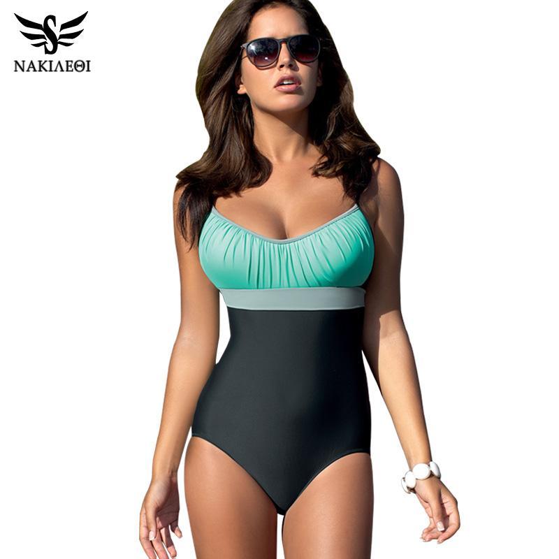 aaad675163204 2019 One Piece Swimsuit Plus Size Swimwear Women Swimsuit 2018 Summer Large  Beach Vintage Retro Bathing Suits Swim Wear XXL From Oldboys