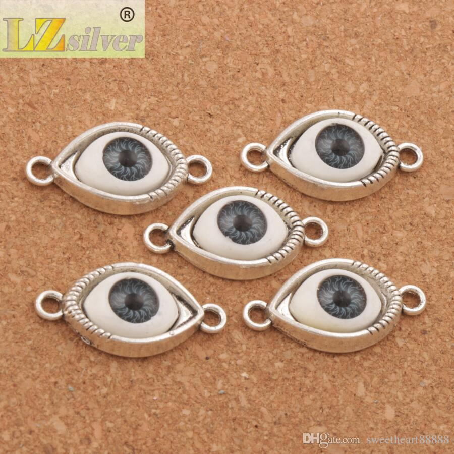 이블 눈 Hamsa 커넥터 매력 비즈 행운의 눈 / 골동품 실버 / 우정의 팔찌 L1662 합금에 대한 청동 커넥터