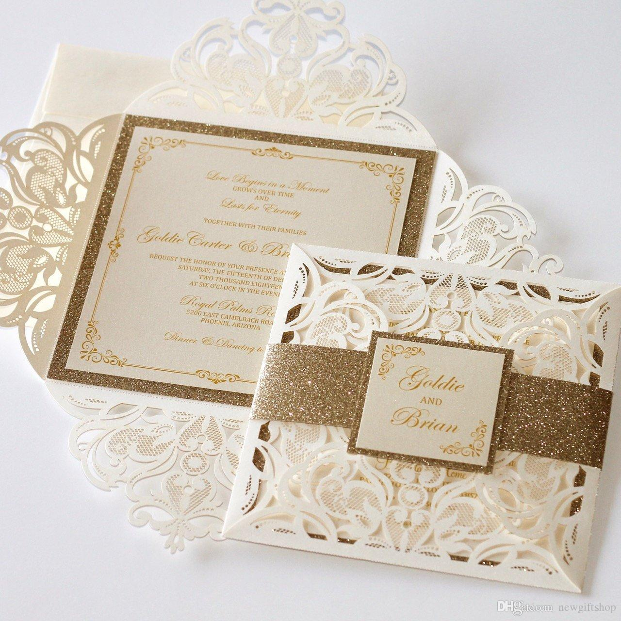 Luxury Laser Cut Flower Gold Glitter Wedding Invitations With ...