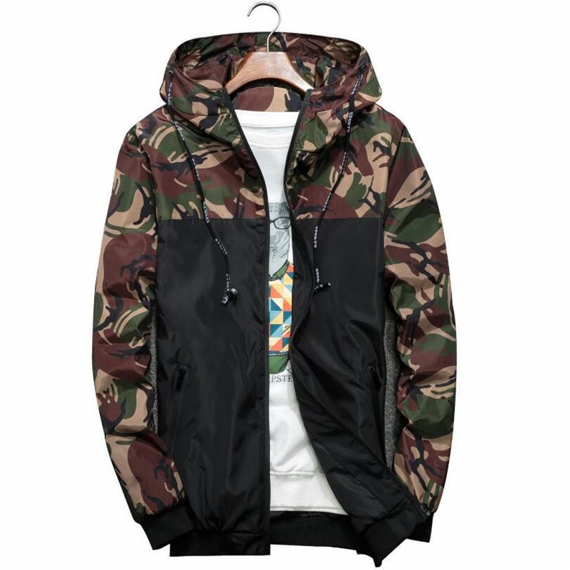 Compre 2018 Mens Moda Jaqueta Fino Fino De Manga Longa Camuflagem Casacos  Militares Com Capuz Blusão Zipper Outwear Exército Marca Roupas D18100803  De ... 6e7f30cb6e