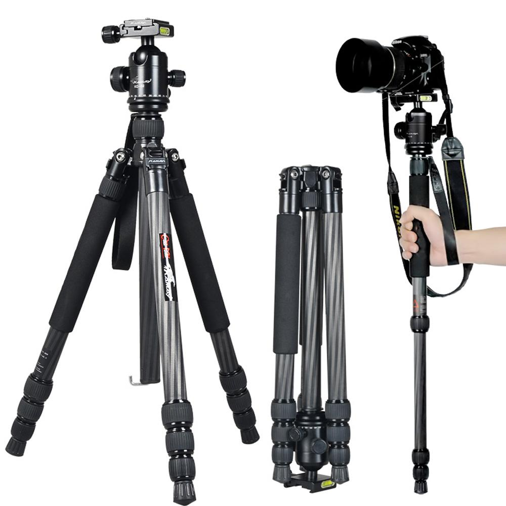 Kamay Professional Carbon Fibre Camera Tripod Monopod Stand With Ball Head For Dslr Camera Photography Studio Travel Gorillapod