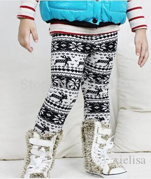2018 New Arrival Girls Thick Pants Childrens Winter Warm Leggings Kids Elastic Waist Deer Bootcut