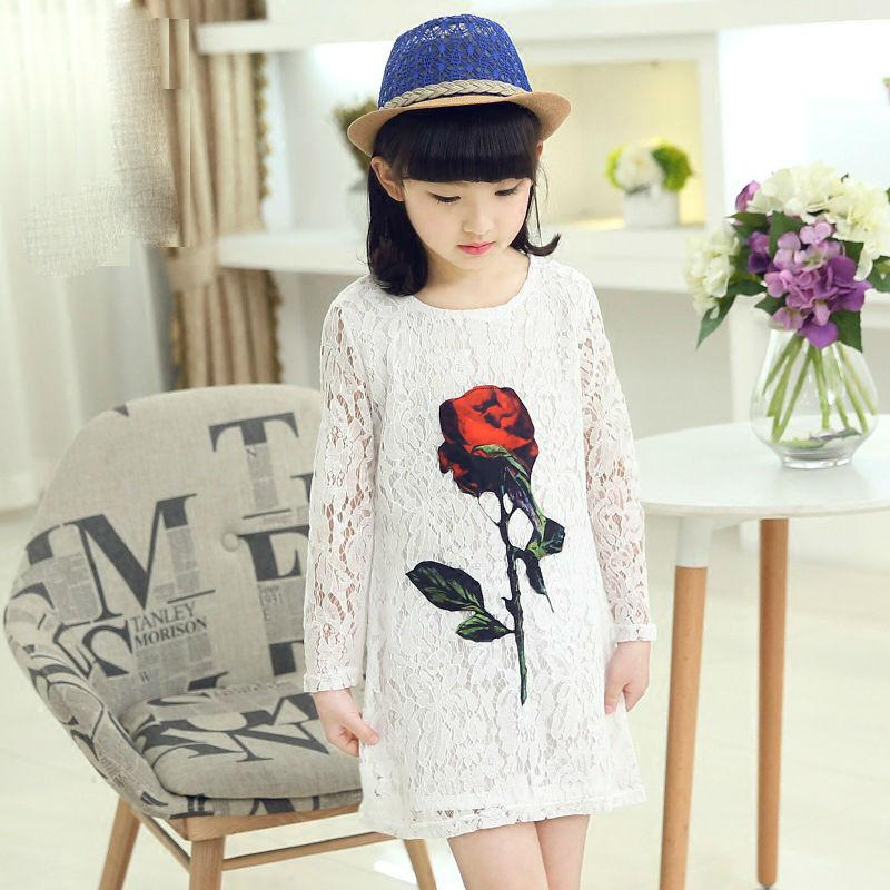 Haute Qualité Bébé Filles Dentelle A-ligne Robes Casual Princesse Fille Robes Vêtements D'été Vêtements Robe Pour Fille Corée Style