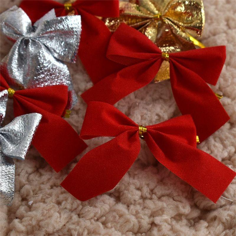 12x Bow Christmas Tree Decoration Xmas Ornament Bowknot Party Home