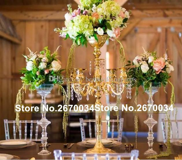 New Style Gold Flower Vases Candle Holders Stand Wedding Decor Road