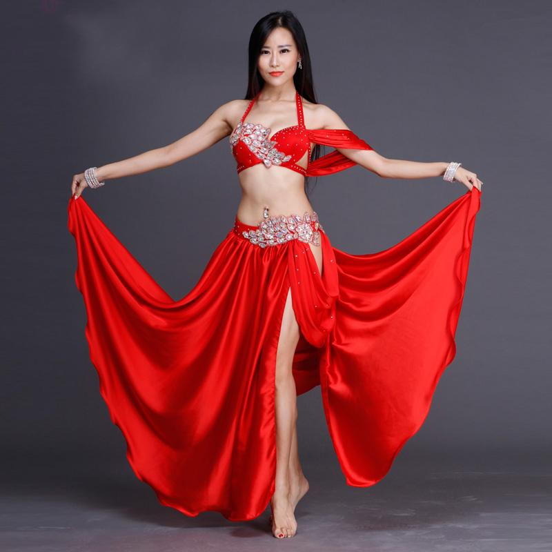 7b6f58ca8 2019 2018 Women Professional Belly Dance Costume Set Luxury Bellydance  Costumes Stage Performance Diamond Decoration Bras & Skirt Set From Cagney,  ...