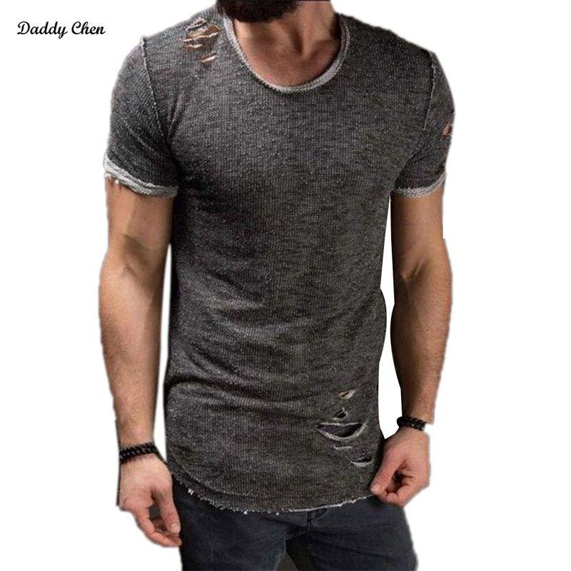 Uitzonderlijk Hole Ripped T Shirts Mens Short Sleeve T-shirt Fitness &AK45
