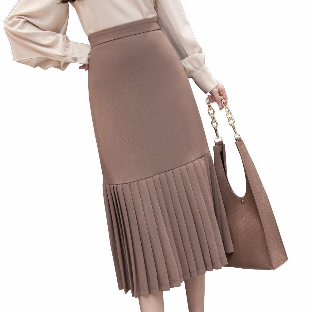 411f69750 Alta cintura gasa maxi faldas para mujer 2018 primavera nueva elegante  falda plisada delgada patchwork femenino largo saia señoras trabajo jupe