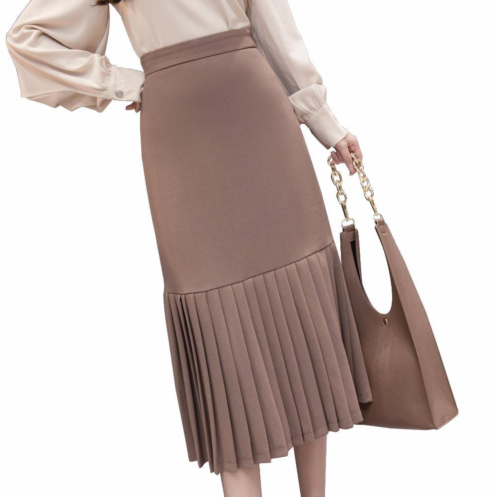 c6f4d79db36 2019 High Waist Chiffon Maxi Skirts Womens 2018 Spring New Elegant Slim  Pleated Skirt Female Patchwork Long Saia Ladies Work Jupe From Saltblue