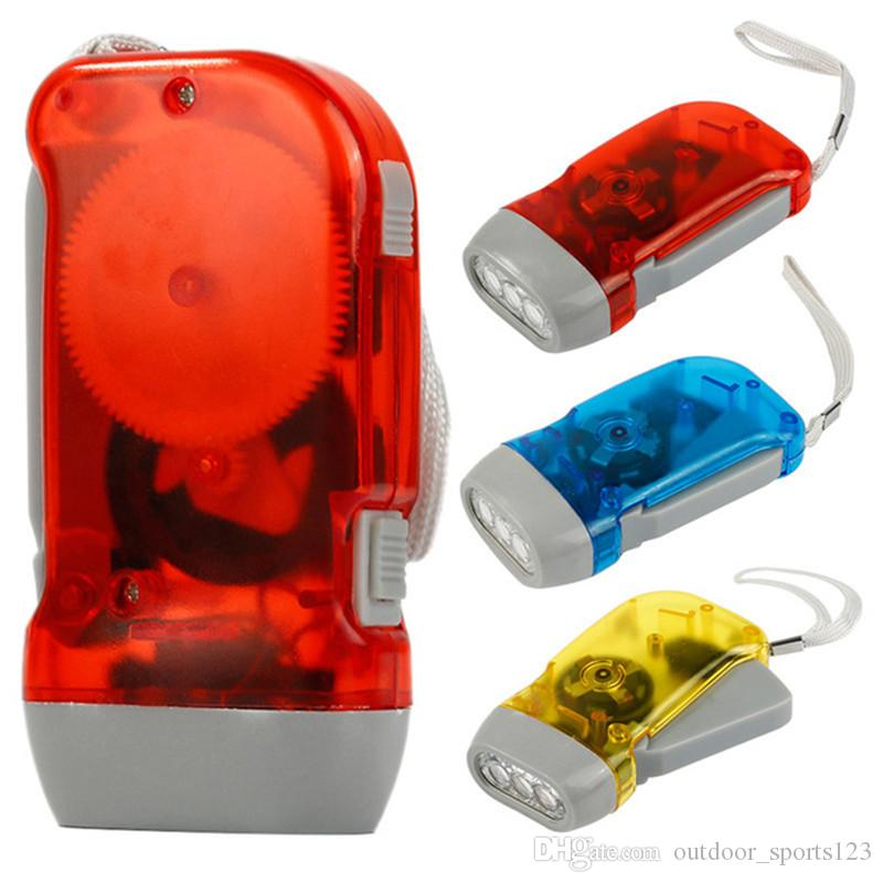 NEW Hand Crank Battery-Free Flashlight Camping Lights 3 LEDs Hand Pressing Flashlight Manual Generator Traveling Torch Light