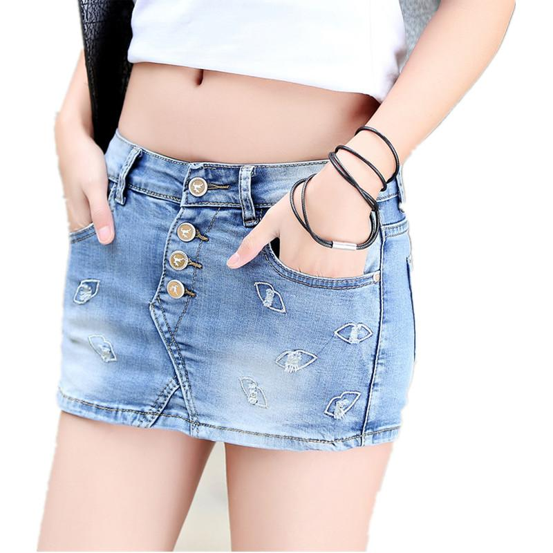 f75edcb70be01 2019 Fashion Skort Shorts Denim Korean Style Plus Size Women S Skorts Skirt  Slim Sexy Woman Short Jeans Feminino Hot Woman Elasticity From Beatricl