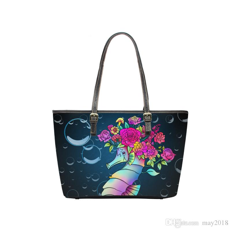 0f45633a57 China Custom Products Hot Style Pu Leather Women Stylish Large Capacity  Shoulder Handbag Print Cute Hippocampus Bag Cheap Designer Bags Shoulder  Bags For ...