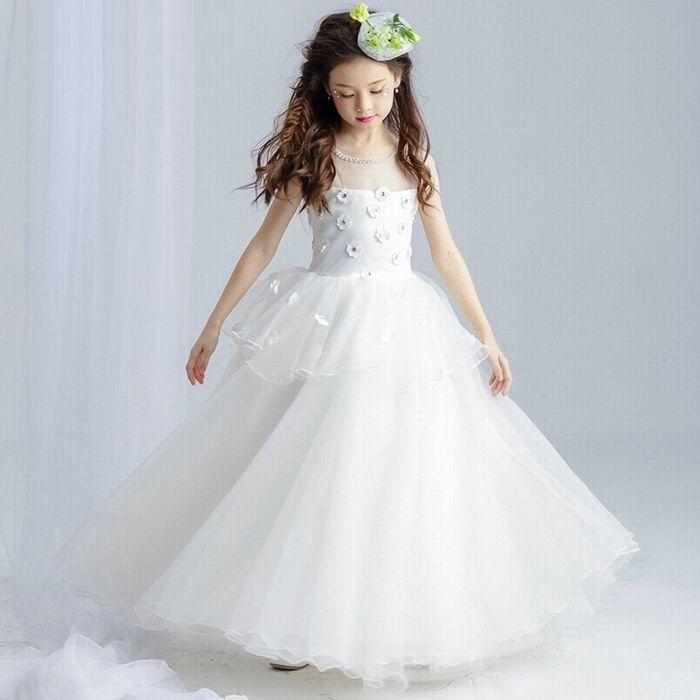 Princess White Ball Gown Flower Girl Dresses For Weddings Long First ...