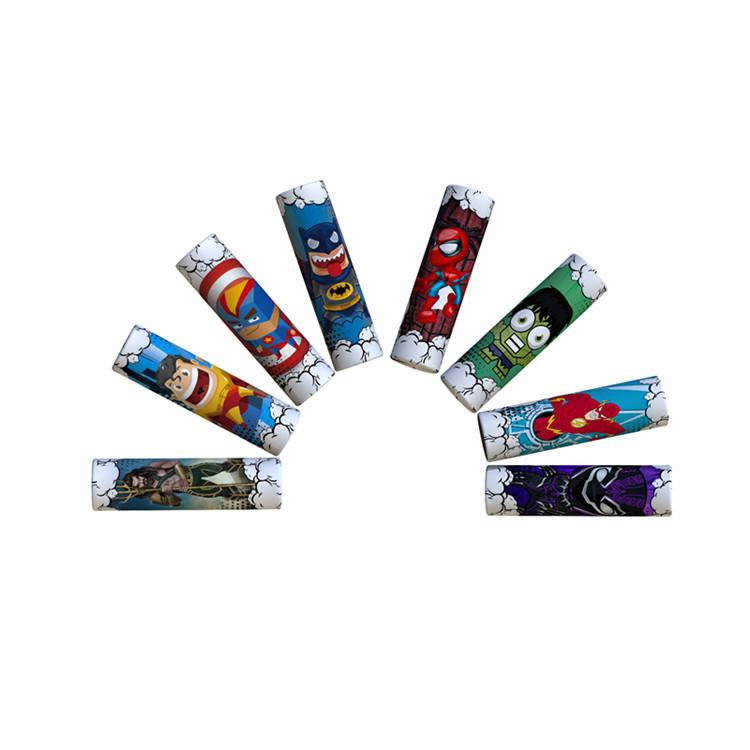 Lindo superhéroe Capitán Americano Batman Spiderman 18650 20700 21700 Batería Etiqueta engomada de la piel del PVC Vaper Envoltura Cubierta Manga Termo retráctil Vape