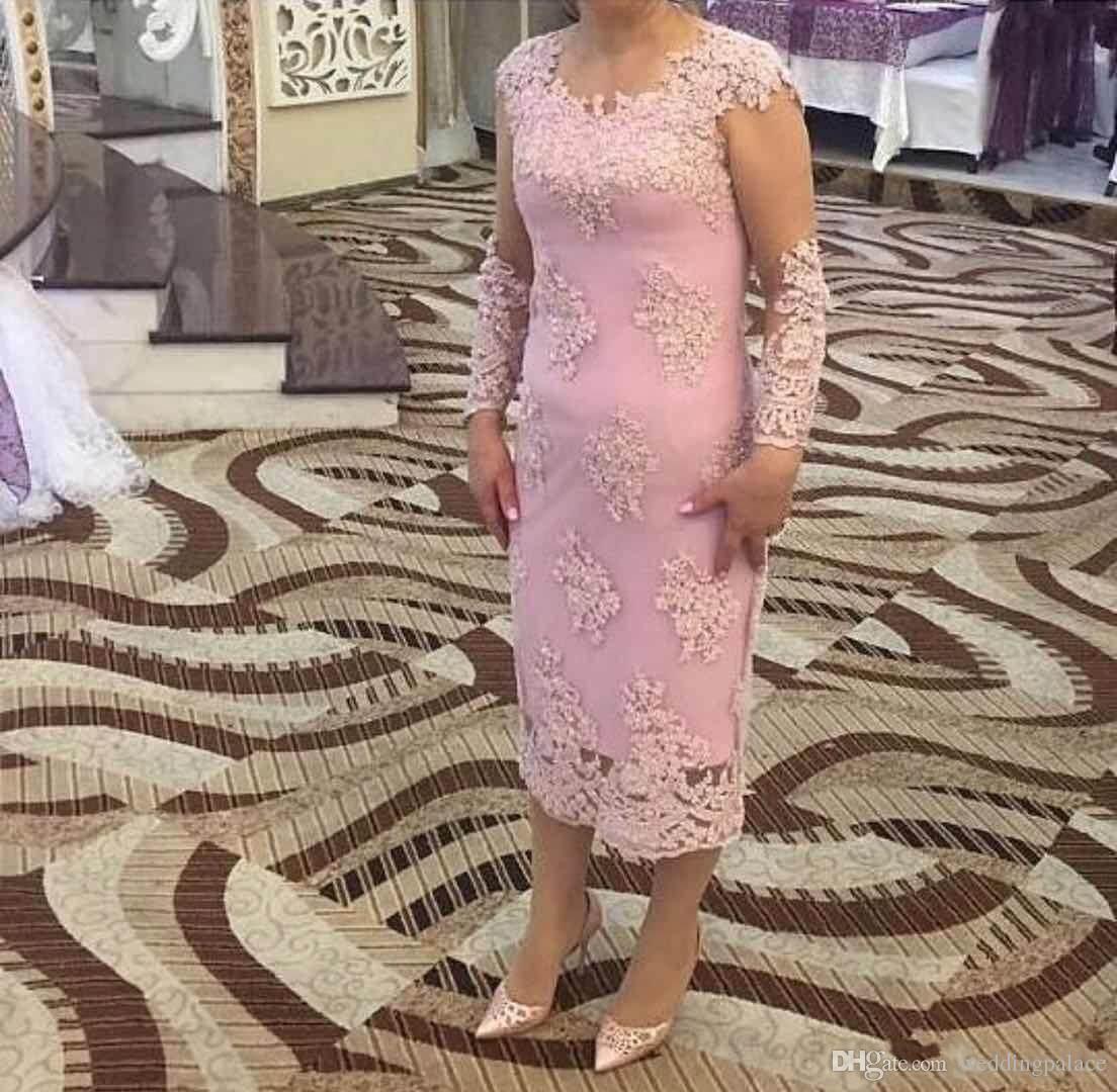 2018 Jewel Long Sleeve Sheath Appliques Mother Of The Bride Dresses Tea Length Elegant Wedding Dresses Party Evening Dresses