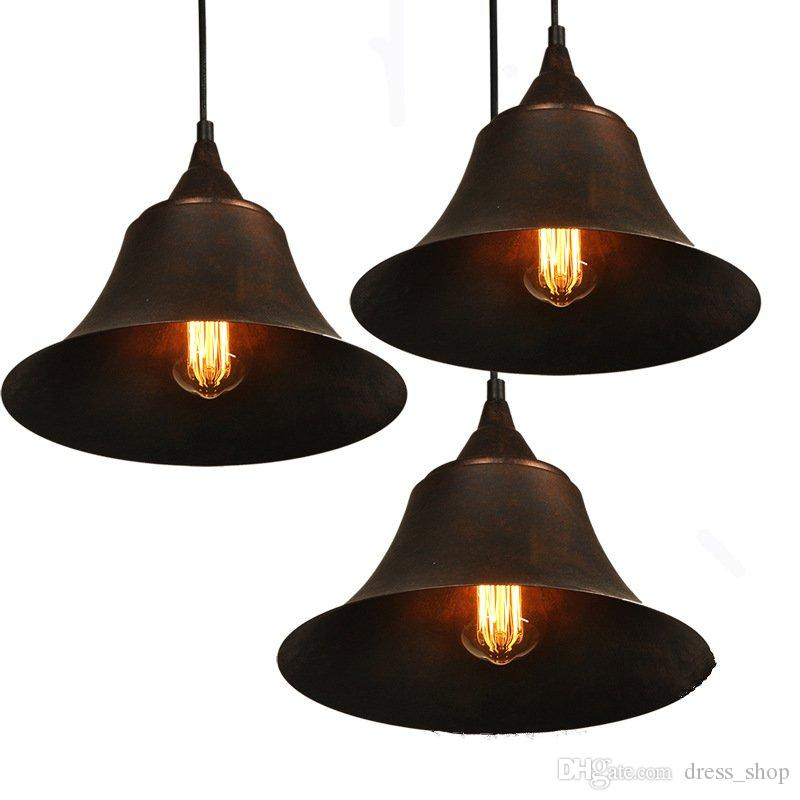 American Countryside speaker style Pendant Lamp Bedside Lamp Bedroom Restaurant Outdoor Corridor Antique iron Pendant Light