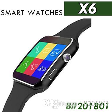 sale retailer b636b 92fe9 New Bluetooth Smart Watch X6 E6 Smartwatch sport watch For Apple iPhone ios  Android Phone With Camera Support SIM Card smartwatch cell phone