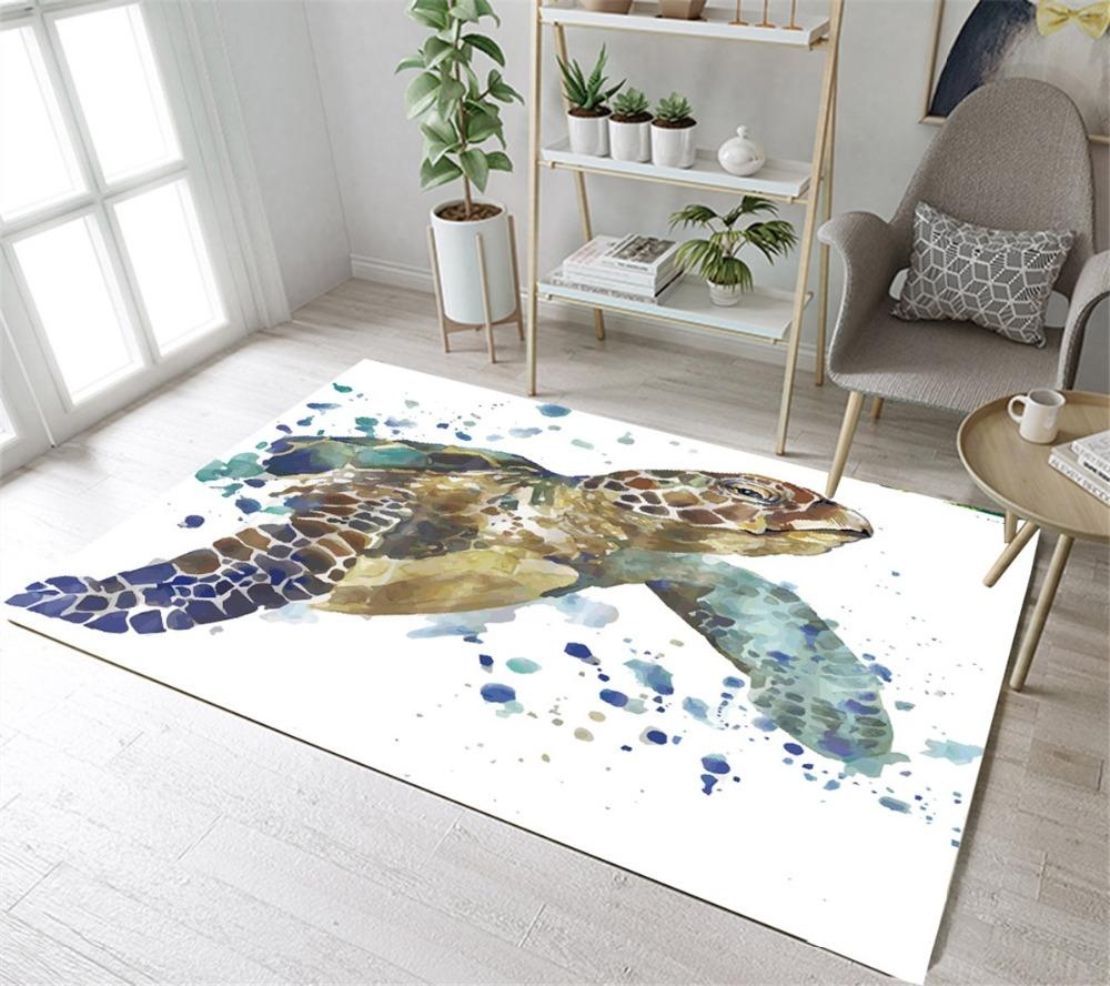 2019 Lb Large Watercolor Turtle White Floor Mat Area Rugs Bedroom