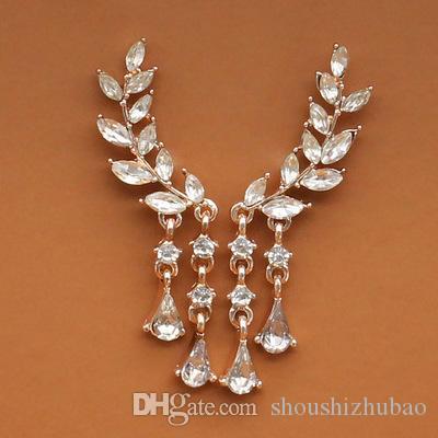 Gold Silber Mode Ohrringe Kristall Schmuck Blätter Quaste Frauen Zirkon Ohrstecker