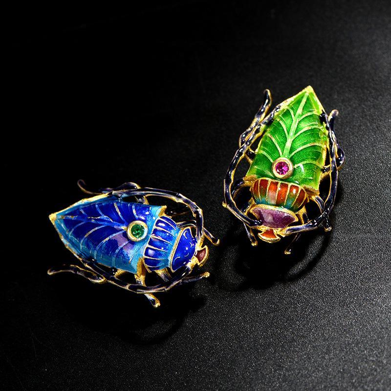 Cloisonné emaille Silber brosche alten Peking emaille handwerk insekt brosche