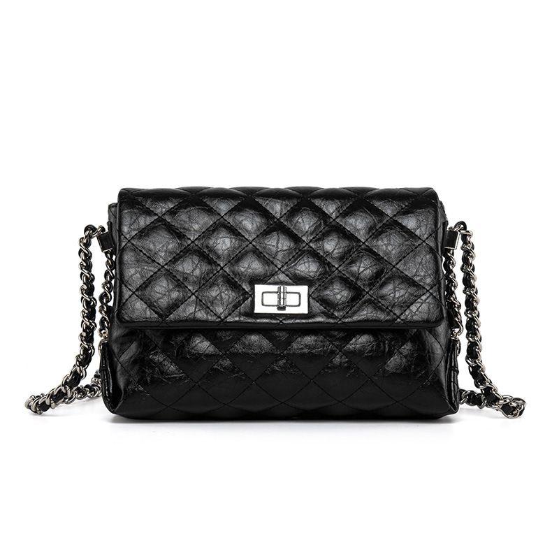 a4c405664b Plaid PU Leather Women Messenger Bag Fashion Solid Cow Leather ...