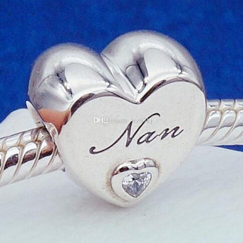 5590e7d40 Authentic 925 Sterling Silver Nan's Love charm Bead with Cubic Zirconia  Fits European Pandora Jewelry Bracelets Necklaces & Pendants