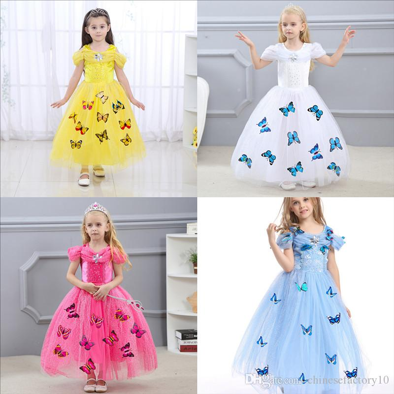 Halloween Snowflake Diamond Butterfly Dress Fancy Costumes For Kids Abito principessa Baby Girl Boutique Dress 5 strati Cosplay 4 colori