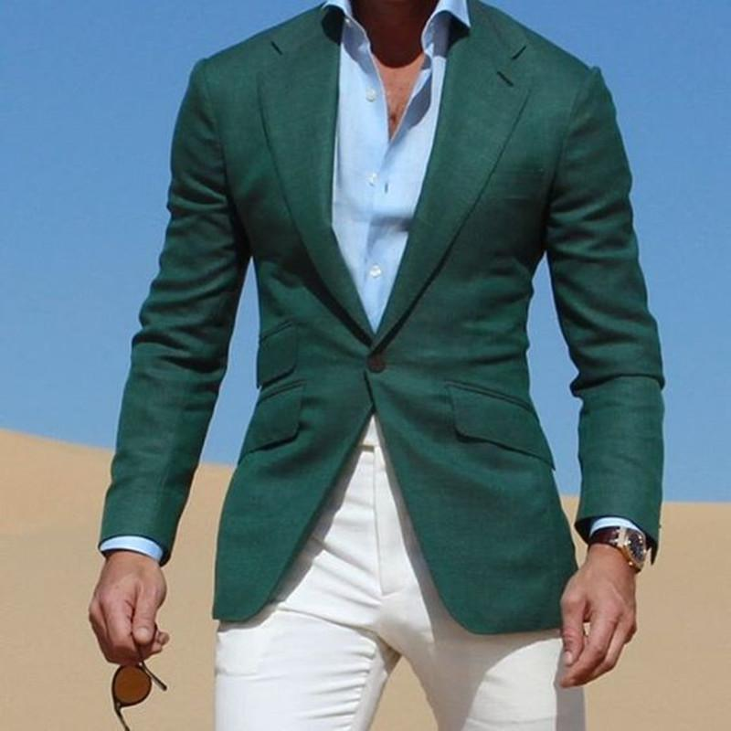 2019 Mix Match Dark Green Jacket Suits With Ivory Pants 2017 Casual