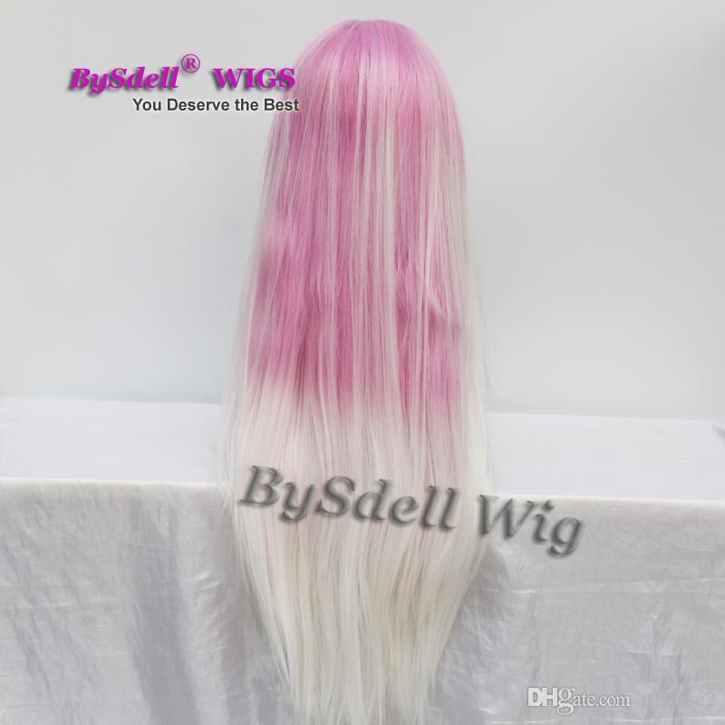 Hot sale heat resistant synthetic long Pastel ombre purple pink to white color hair Women Wig female full beauty lace front wig