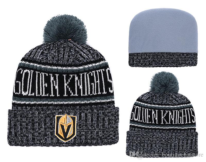 9e7cf91eead 2018 Vegas Golden Knights Sport Cuffed Knit Hat Beanies With Funny Pom Logo  Embroidered Classic Sport Detroit Hockey Winter Skullies Hats Beanie Kids  Skull ...