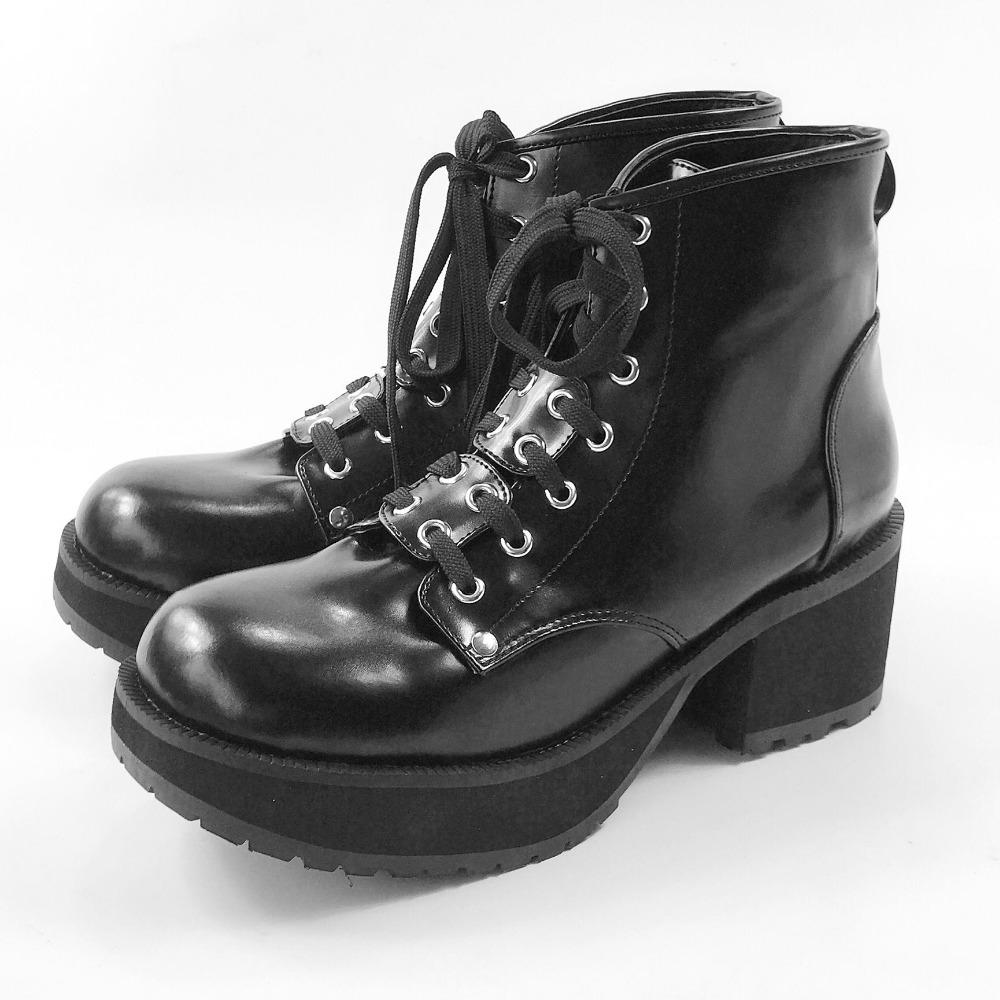 3fd48fdad922a Classic Black Men's Leather Lolita High Platform Cosplay Ankle Boots Square  Heel Lace Up Martin Boots