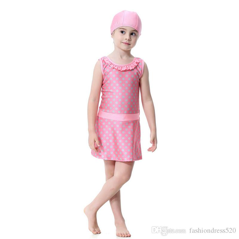 Hight Quality Cute Dot Printing Girls Muslim Swimwear Kids Skirt Modest Islamic Bathing Suit Beach Wear Holiday Swimsuit Swimming Suit