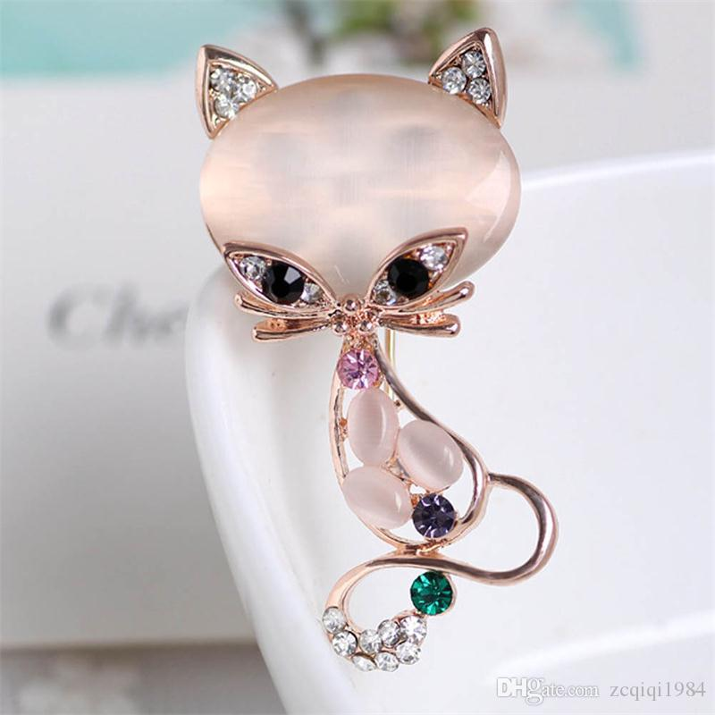 cute fox pins new fashion fox Brooch Gold Filled Multicolor Opal Stone Fox Brooches for women