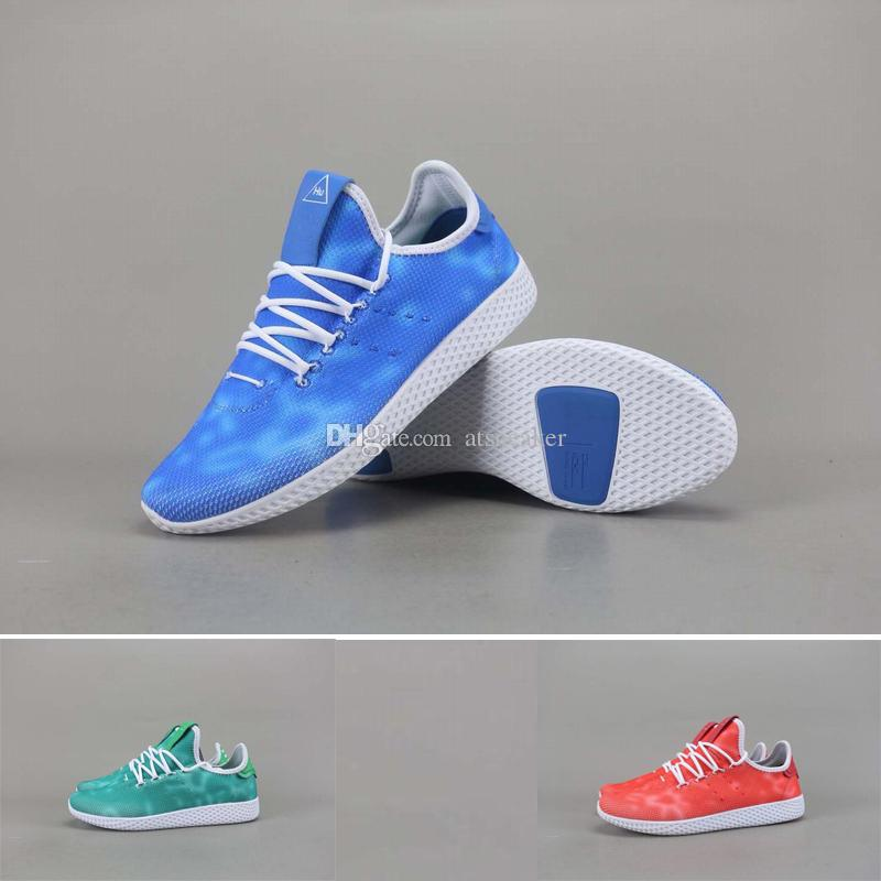 quality design d4f1f c9a87 2018 New Pharrell Williams X Stan Smith Tennis HU Primeknit Running Shoes  Men Women Blue Green Red Breathable Sneaker Shop Shoes Men Shoes On Sale  From ...