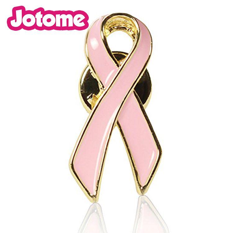 Silver Tone Clear Rhinestone Crystal Diamant Pink Enamel Ribbon Bow Brooch Breast Cancer Awareness Pins