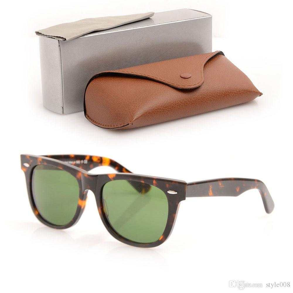 High Quality Plank Sunglasses glass Lens Black Frame Green Lens Plank Sunglasses beach sun glasses Fashion ray Sunglasses with brown cases