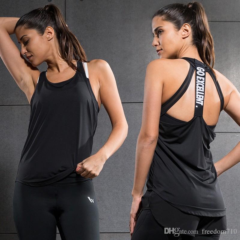 Acheter Yoga Tops Femme Sexy Gym Sport Gilet Fitness Femme En Cours  D exécution Femme Chemise Sans Manches À Séchage Rapide Débardeur Fit Yoga  Wear De ... a88008aa135